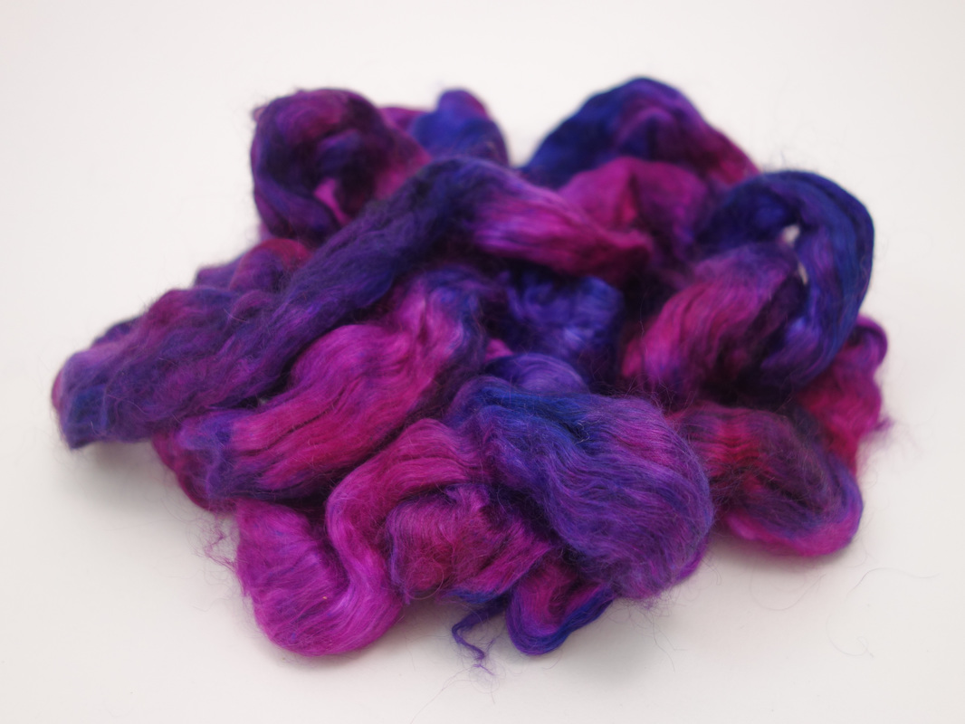 Hand Dyed Silk and Kid Mohair Fiber