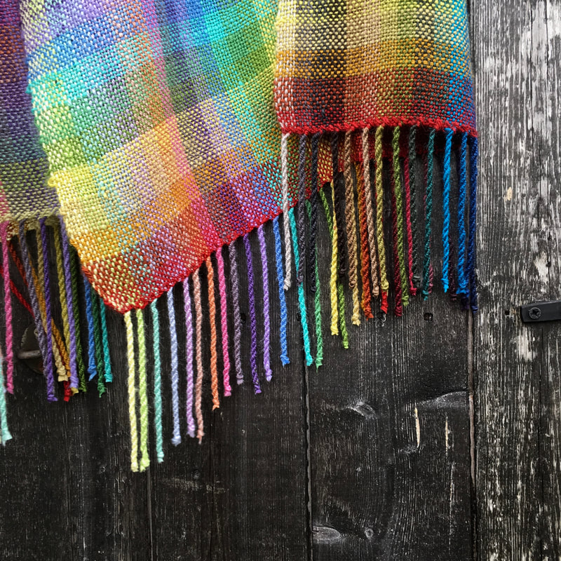 Fringe details on hand woven tussah silk stole