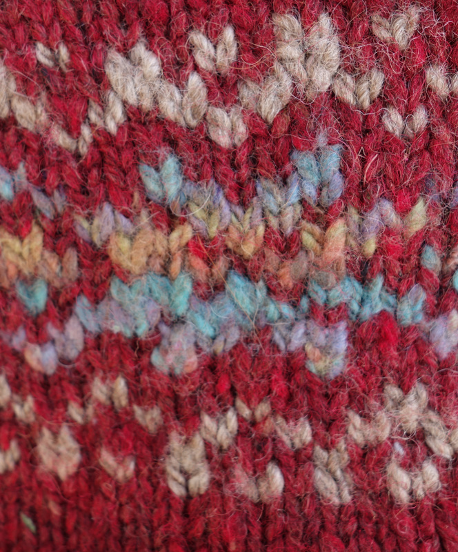 Colour work close up using commercial and handspun yarn