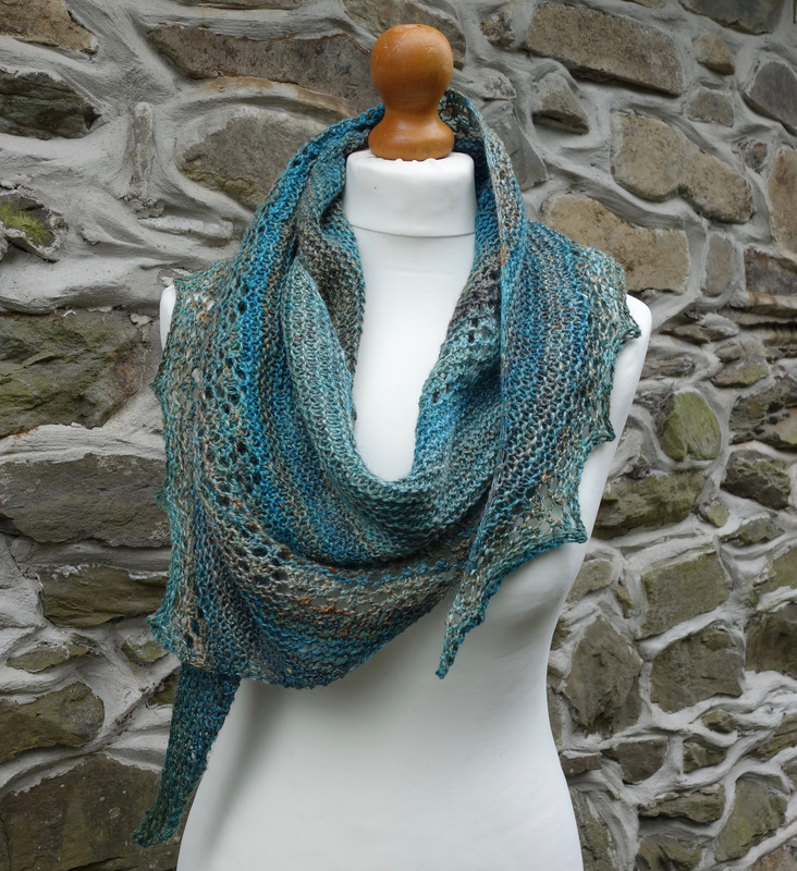 Handspun Shawl made from Romney, Silk and Linen