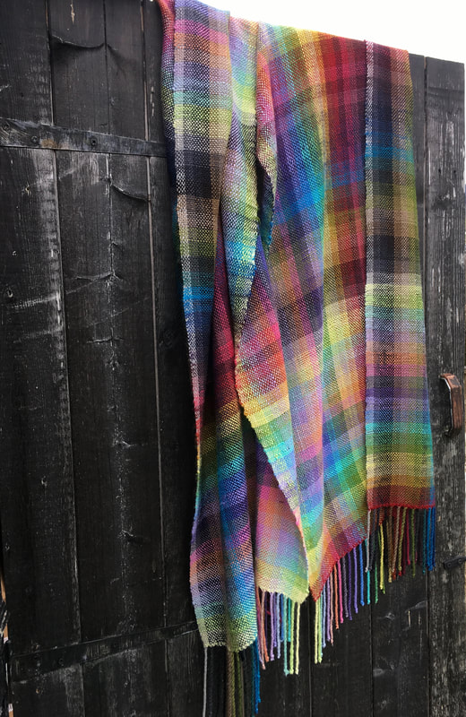Rainbow colour gamp woven scarf in tussah silk
